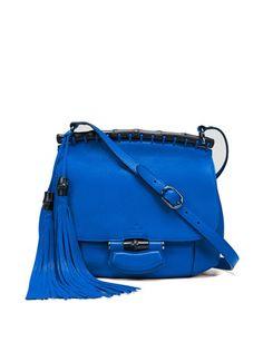GUCCI Nouveau Medium Leather Crossbody Bag