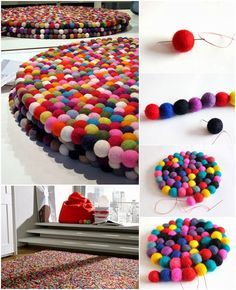 DIY Felt Ball Mat Tutorial - Find Fun Art Projects to Do at Home and Arts and Crafts Ideas Diy Wool Felt, Felt Diy, Crafts To Make And Sell, Diy And Crafts, Arts And Crafts, Pom Pom Crafts, Felt Crafts, Cool Art Projects, Diy Projects