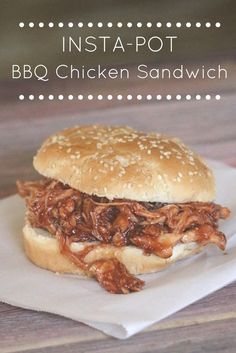 Insta-Pot BBQ Chicken Sandwich: Tender pulled-apart chicken breast, drowning in your favorite BBQ Sauce and cooked in a matter of minutes using your insta-pot. BBQ Chicken Sandwiches for dinner!