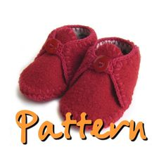 PATTERN Felted recycled wool sweater baby booties byPATTERN - Felted Sweater Baby Shoes with crochet trim, sz toDont know what to do with the sweater that got shrunk in the washing machine? Or maybe your favorite Merino wool or cashmere sweater got r Baby Shoes Pattern, Shoe Pattern, Baby Slippers, Felted Slippers, Slip Stitch Crochet, Crochet Trim, Crochet Stitches, Felt Baby Shoes, Knit Baby Booties