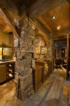 Home Theater Design Ideas, Pictures, Remodel and Decor // Awesome // Stone Basement Movie Room