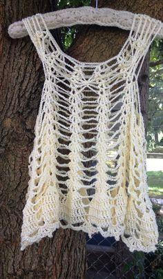 Crochet Pattern PDF White or Dark Chocolate Tank Vest Sleeveless Women Teens XS-XL