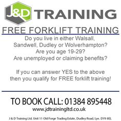 Free forklift training to the unemployed http://ift.tt/1HvuLik PLS RT #free #forklift #training #jobsearch #dudley