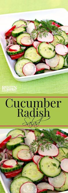 Dilled Cucumber and Radish Salad   Renee's Kitchen Adventures - easy salad made with fresh cucumbers and radish accented with dill. Perfect Spring vegetable side dish for any meal!