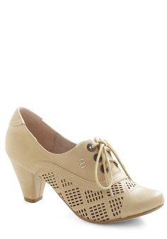 Quilting Class Heel in Beige by Chelsea Crew - Mid, Leather, Tan, Solid, Cutout, Vintage Inspired, 20s, 30s, Lace Up, Variation, 50s