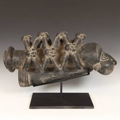Ceremonial Prestige Bowl Bamileke People Cameroon, West Africa 20th C. Terra Cotta 8.5'' W x 22'' D x 14'' H
