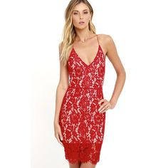 Curvy Road Ahead Red Lace Dress featuring polyvore, women's fashion, clothing, dresses, red, lace up front dress, lace dress, sheath cocktail dress, v neck lace dress and lace overlay cocktail dress