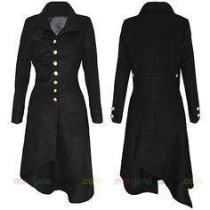 Have one to sell?Sell it yourself   	  Womens Military Victorian Style Long Length Hem Gold Button Up Coat Jacket 8-14