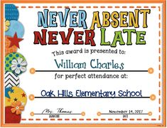 Acknowledge your students perfect attendance