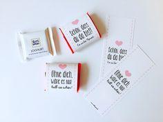 **Liebe ist süß... und Schön, dass du da bist!** Ein wunderschönes Gastgeschenk für die Hochzeit oder süßes Accessoire auf der Candybar. Unsere Banderolen könnt ihr einfach um die berühmten...