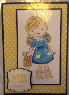 Stampin up garden girl stamp yellow dot
