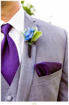 Wedding style: groomsmen purple, gray, and blue