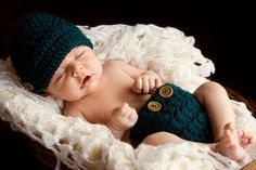 Crocheted Chunky Newsboy Beanie & Diaper Cover Set - Hatting Madly Crochet