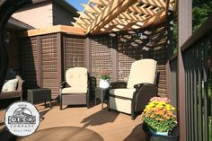 Toronto builder of fine custom decks, porches, and accessiores in TREX, Your Deck Company. Backyard Pergola, Pergola Ideas, Patio, Custom Decks, Outdoor Living Areas, Outdoor Furniture, Outdoor Decor, Sun Lounger, Toronto
