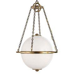 Modern Globe Pendant, Antiqued Brass