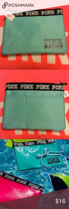 Vs Pink Aqua bikini bag NWT Aqua color bikini bag.  I didn't think I would sell this cause it would be great for make up.  I don't plan to put my wet bikini in it ;) ;)  check out more listings for Pink accessories. Most NWT and some are matchy!! PINK Victoria's Secret Bags