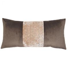 Decorative pillow with luxurious velvet in brown and gray tones.  Plump down/feather insert.  Free shipping.