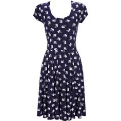 Navy Swan Printed Skater Dress ($44) ❤ liked on Polyvore