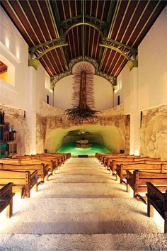 A beautiful chapel built over a cenote in Xcaret, Mexico.