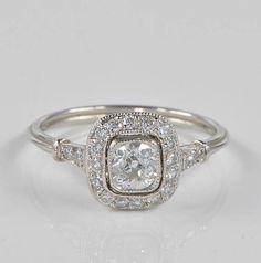 Stunning Art Deco diamond target platinum ring