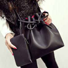 O envio gratuito de moda 2015 doces cor da moda all jogo bucket bag pu de couro de um ombro cross corpo das mulheres bolsas(China (Mainland))