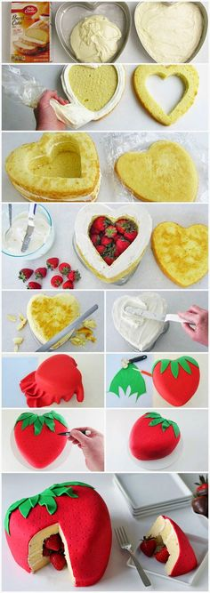 Strawberry Surprise Cake! I really want to make this soooooooo bad!!!!!!!!!! ❤️