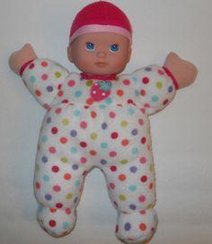 "Circo Baby Doll 13"" Target Girl Dot Sleeper Strawberry Vinyl Face Fleece Body…"