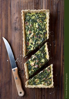 Spinach Bacon Goat Cheese Tart - TheSpiceTrain.com