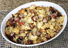 Cauliflower and Sausage Roast With Cheddar Cheese