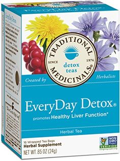 Traditional Medicinals Everyday Detox Herbal Tea - 16 Tea Bags - Promotes Healthy Liver Function - Non GMO Detox Tee, Detox Tea Diet, Liver Detox, Detox Drinks, Cleanse Detox, Detox Foods, Detox Smoothies, Skin Detox, Herbal Detox