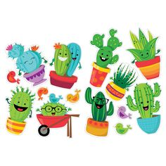 Details about eu 840381 a sharp bunch 2 sided cactus bulletin board set classroom decorations Classroom Design, Classroom Themes, Eureka School, Dibujos Cute, Fall Candles, Wedding Arrangements, Wonderwall, Painted Rocks, Doodles
