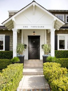 Spelling out your numerals is a cool statement! Find more looks here: http://www.bhg.com/home-improvement/exteriors/curb-appeal/enhance-front-entry/?socsrc=bhgpin013015leadthemin