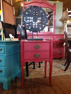 Petite side table done in American Paint Company Fireworks Red.