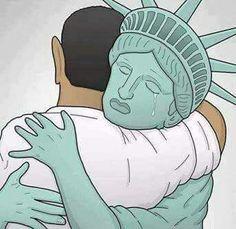 Previous pinner: This image literally brings me to tears.for our country and our President. Lady Liberty says farewell to the amazing Barack Obama. Barack Obama, Joe Biden, Durham, Caricatures, Liberty Statue, First Ladies, Barack And Michelle, Thing 1, Our President