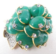 GORGEOUS NETTIE ROSENSTEIN GRIPOIX GLASS PATE DE VERRE RHINESTONE FLOWER PIN  eBay June 2017    $405.00