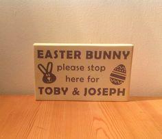 Chunky freestanding wooden plaque/sign Easter by JJAdorableGifts