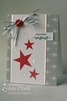 Einfache, aber schöne Weihnachtskarte mit Sternen - gefunden auf amyoneillblog.com