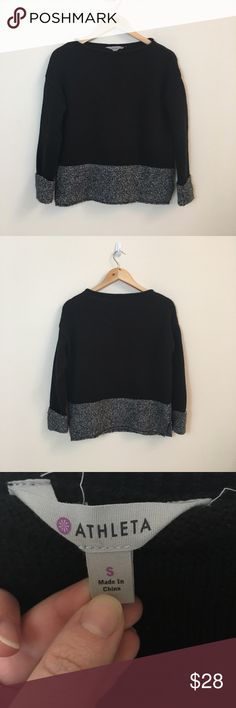 """Athleta Two-Toned Pullover 100% Cotton Size S Athleta two-toned pullover. Size S. 100% cotton.   Measurements provided are rounded up by quarters, halves, and whole inches.  Chest: 43"""" Length: 22"""" Athleta Tops Sweatshirts & Hoodies"""