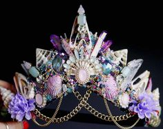 One of a kind crowns handmade in the UK by FridaFlowerCrowns Headpiece Jewelry, Hair Jewelry, Crystal Crown, Crystal Headband, Crown Aesthetic, Mermaid Crown, Mermaid Pictures, Princess Dress Up, Fantasy Gowns
