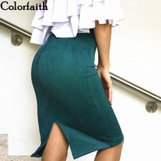 997c408199 US $9.99 49% OFF|Multi colors 2017 Women Skirt Winter Solid Suede Work Wear  Package Hip Pencil Midi Skirt Autumn Winter Bodycon Femininas SP012-in  Skirts ...
