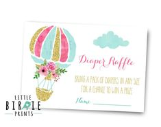 Hot Air Balloon Diaper Raffle Tickets  A fun way for the mommy to be to get lots of diapers! Pretty golds and pinks with mint watercolor, fun for any girl baby shower.  6 diaper raffle tickets come instant download to print per 8.5 by 11 sheet. Print cut and party!  Invite to match and other items here: https://www.etsy.com/shop/littlebirdieprints?ref=hdr_shop_menu&search_query=hot+air+balloon  HOW TO ORDER  1) Choose & purchase the design that you like 2...