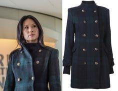 Elementary season 2, episode 11: Joan Watson's (Lucy Liu) Alice + Olivia Plaid Coat #elementary #getthelook