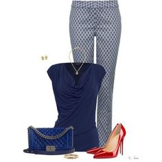 Jacquard Pants by ksims-1 on Polyvore featuring polyvore, fashion, style, James Lakeland, NYDJ, Christian Louboutin, Chanel, Blue Nile and clothing