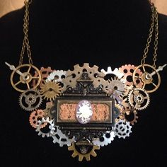 Steampunk gear necklace one of a kind and only available at the auction on my fb page! Look up the event on Figment Costuming! #steampunk #ooak #gears #gluesomegearsonit #handmade #sale #discount #cosplay #costume #figmentcostuming