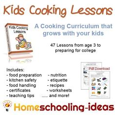 Kids Cooking Lessons - a curriculum that grows with your kids.  #homeschool #kids