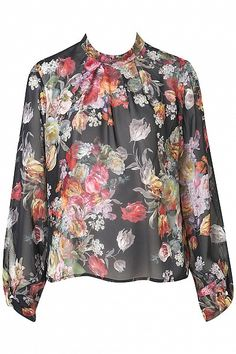 Longsleeve Floral Roll Neck Top by Topshop-I would be rockin' this