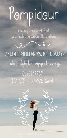 Pompidou is a playful, versatile sans serif font. With rounded edges and condensed shapes. Perfect for longer texts, blogs, boho wedding invitations and much more. Use the extras to create a nature-inspired design: perfect for spring or autumn inspired posters. #font #typeface #typegang #typespire #typematters #type #fontdesign #typography #graphicdesign #typographyinspire #handmadefont #creativemarket #ad