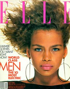 """Model Kersti Bowser on US """"Elle"""" magazine, July Fashion Magazine Cover, Cool Magazine, Elle Magazine, Magazine Covers, Magazine Ads, Dark Skin Models, Black Models, 90s Models, Role Models"""