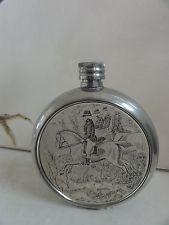 Antique Signed Pocket Flask Pewter, Hunting on Horses ~Sheffield England Sheffield England, Antique Signs, Pilgrim, Flasks, Pewter, Barware, Hunting, Bottles, Horses