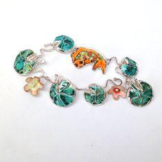 Gorgeous Art Bracelet of Koi Pond-Lily by laurastamperdesigns #jewelryonetsy #wearableart #JeteamLove